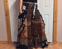 L/XL Full Skirt broek met zakken/lange Palazzo broek/Wide Leg Broek/lange Bloomer broek/Boheemse broek/natuurlijke tinten/Hippie Festival/Gypsy