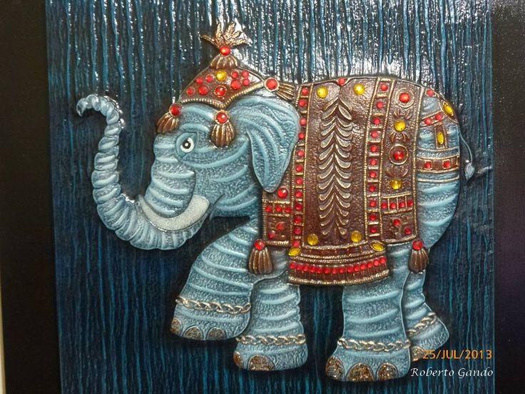 Elefante repujado en aluminio p ntado con pintura acr lica - Pintura para aluminio ...