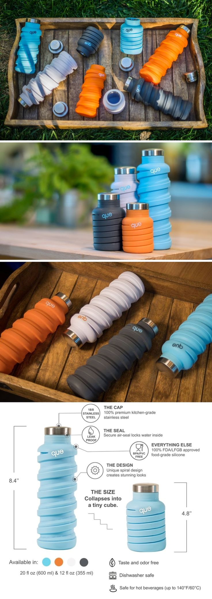 Water makes your skin glow, but water makes this bottle grow! The insanely convenient Que bottle is handy and fits right in your bag or backpack when you need it to be portable. However, a single pull turns it from a 8oz (250ml) bottle to a 20oz (600ml) bottle, allowing it to hold more than double its previous volume.