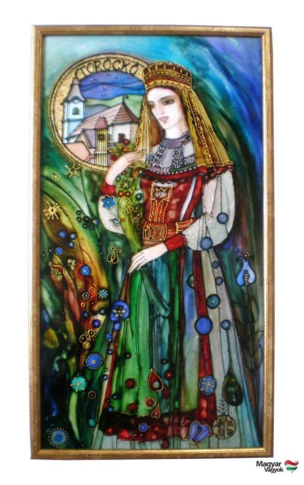 Dávid Júlia festőművész honlapja | Galéria | Üvegkompozíciók- TOROCKÓI LÁNY