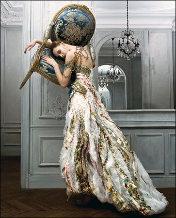 The Christian Lacroix Couture dress is beautiful but I love everything about this photo.