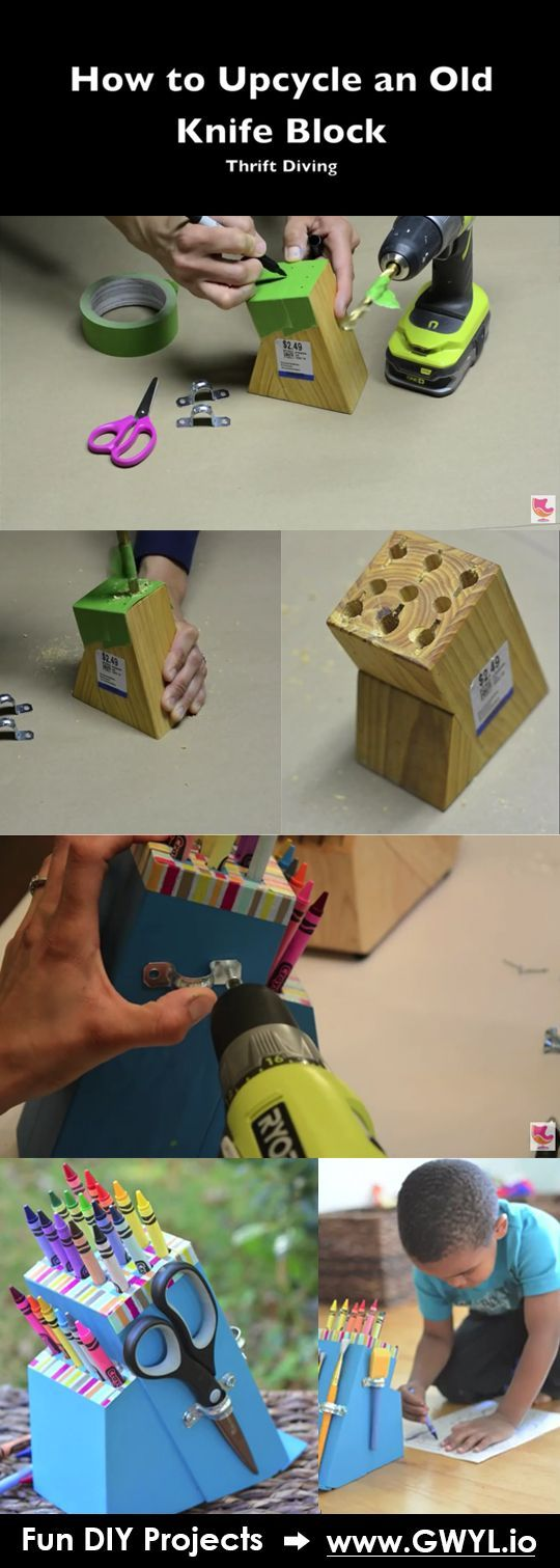 Upcycle an old knife block that your kids will surely love! | Turn Your Old Knife Block Into An Amazing Crayon Holder | Video here--> http://gwyl.io/turn-old-knife-block-amazing-crayon-holder/