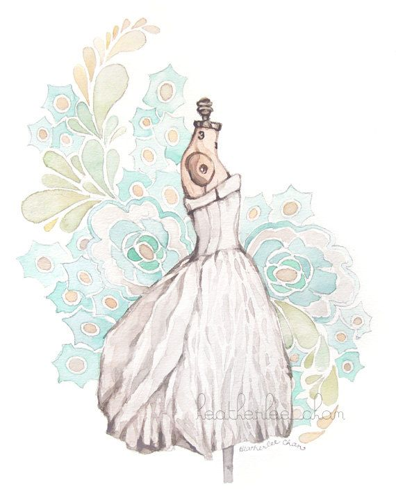 Dress Watercolor Painting - Print - Turquoise Gray White