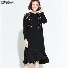 2016 Европейские Повседневная Сплошной Цвет Блестки Осенние Крупных женщин Размер Длинное Платье Сращивание Оборками Мода Трикотажные Свободные Платья(China (Mainland))