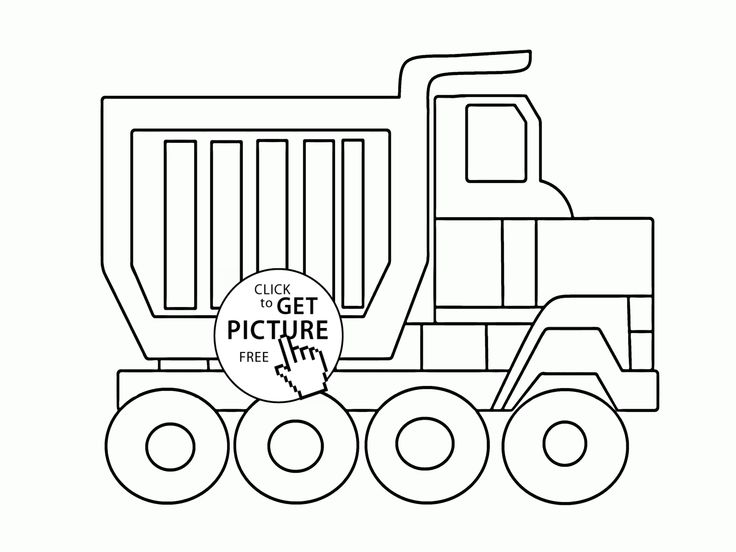 Big Cartoon Dump Truck Coloring Page For Kids