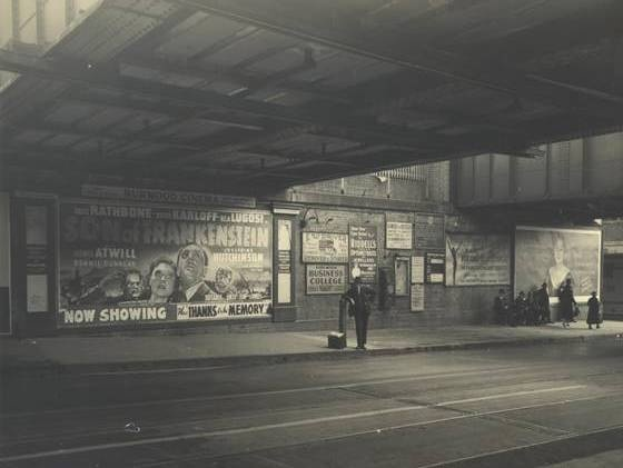 This fabulous photograph from 1939 is c/- the Burwood City Council (Sydney, New South Wales - Australia) - check out the massive advertisement for the latest movie at the local cinema http://www.burwood.nsw.gov.au/our_burwood/history/local_history.html