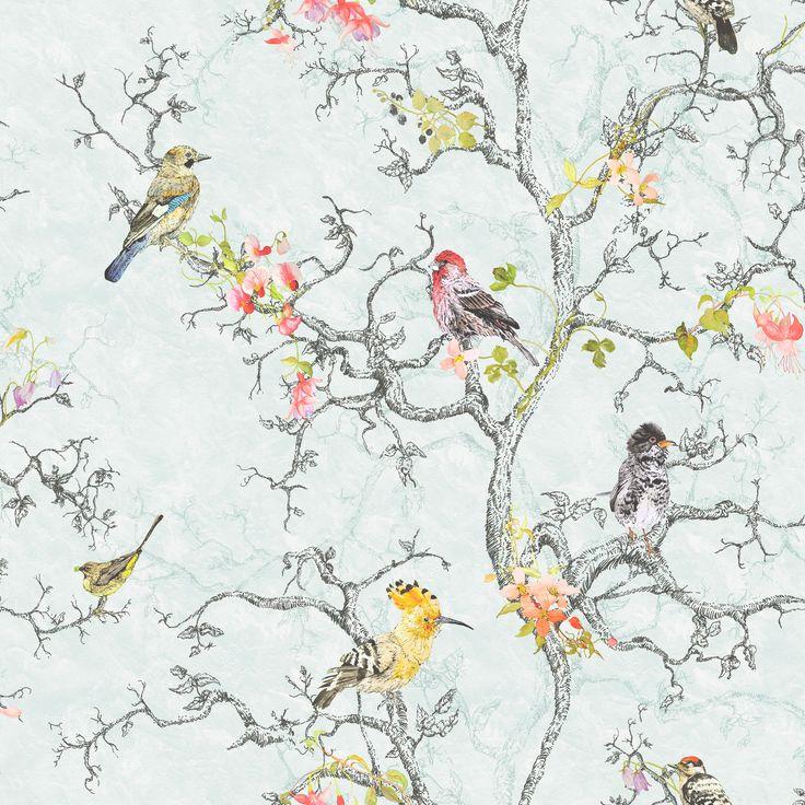 Ornithology Birds Blue Wallpaper   Departments   DIY at B&Q