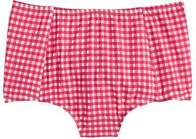 High-waist bikini bottom in gingham seersucker