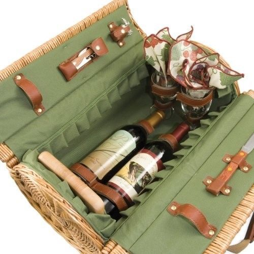 Willow Picnic Basket Set For 2 Wine Glass Vintage Styling With Handle Pine Green #OpportunityBestDeal