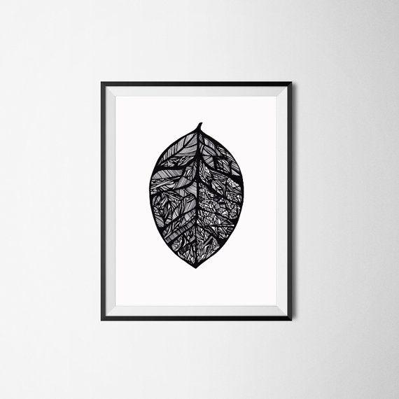 Impression de la feuille / Illustration Nature / botanique Art jardin plante impression / Original / dessin / décoration murale d'automne / ligne dessin / Wall Art Nature