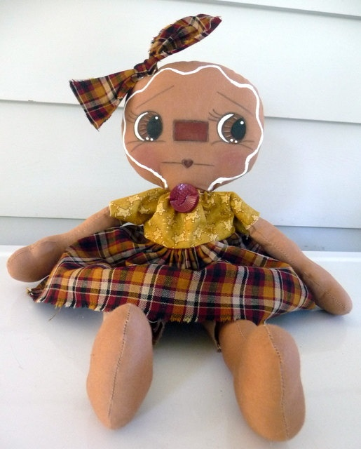 Примитивные Gingerbread Raggedy кукла.  через Etsy.