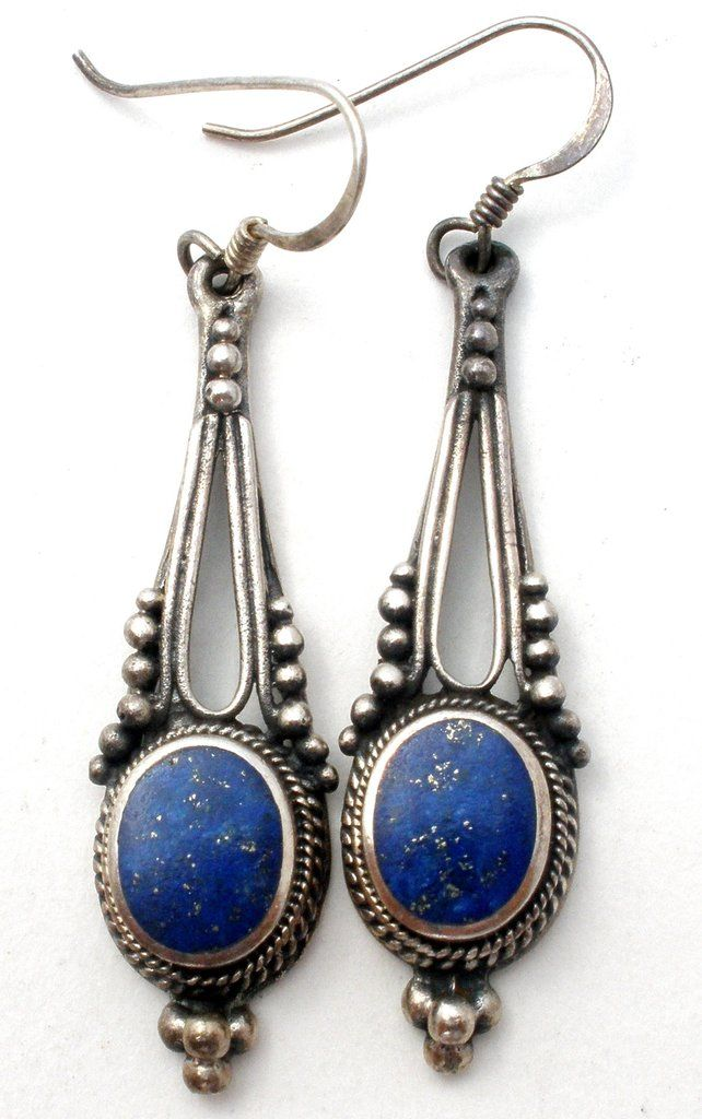 Sterling Silver Lapis Lazuli Earrings Vintage