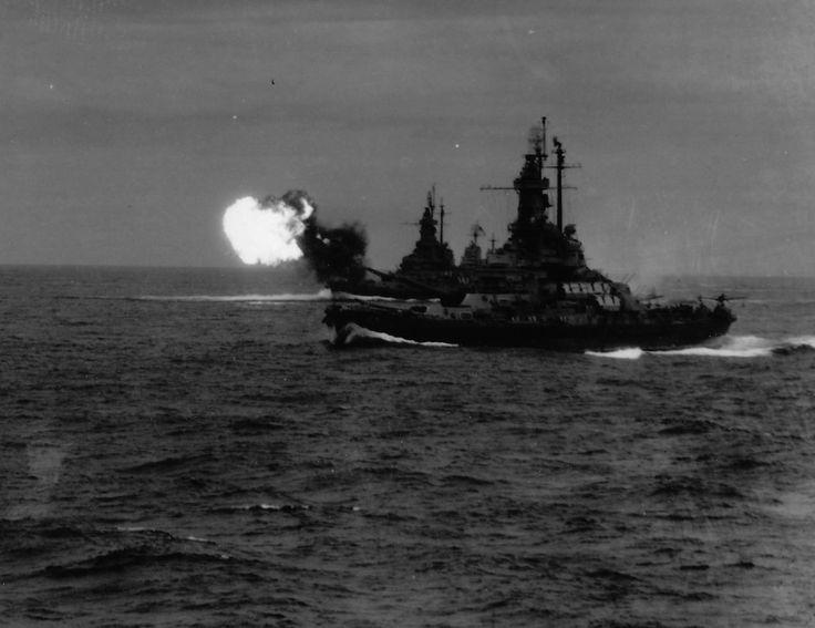 The battleships USS Indiana (BB 58) and USS Massachusetts (BB 59) operating off Honshu.