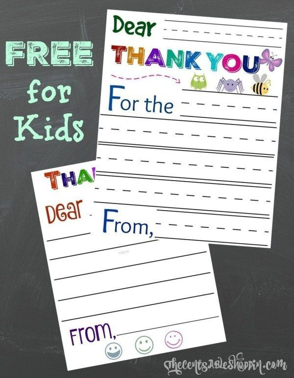 FREE Thank you cards for kids