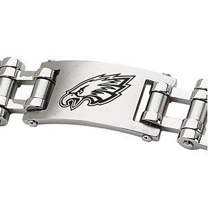 "Stainless Steel Philadelphia Eagles NFL Football Team Logo Bracelet 8"" The Men's Jewelry Store. $77.99. 316L Stainless Steel is Gentle on Sensitive Skin and is Hypoallergenic. A Beautiful and Elegant Way to Show Your Devotion. Philadelphia Eagles are Sharp in Black Enamel. NFL Officially Licensed Logo Team Name and Mascot for Philadelphia Eagles Fans. Stainless Steel Bracelet with Philadelphia Eagles NFL Football Team Logo"