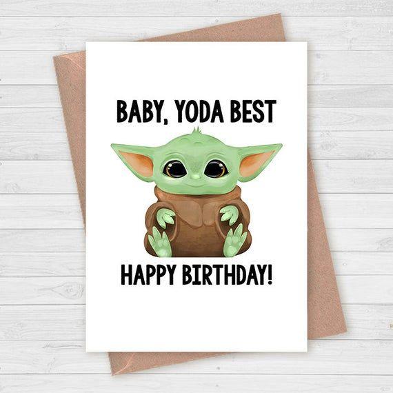 Baby Yoda Birthday Card Yoda Greeting Card Star Wars The Etsy Punny Birthday Cards Funny Birthday Cards Birthday Cards
