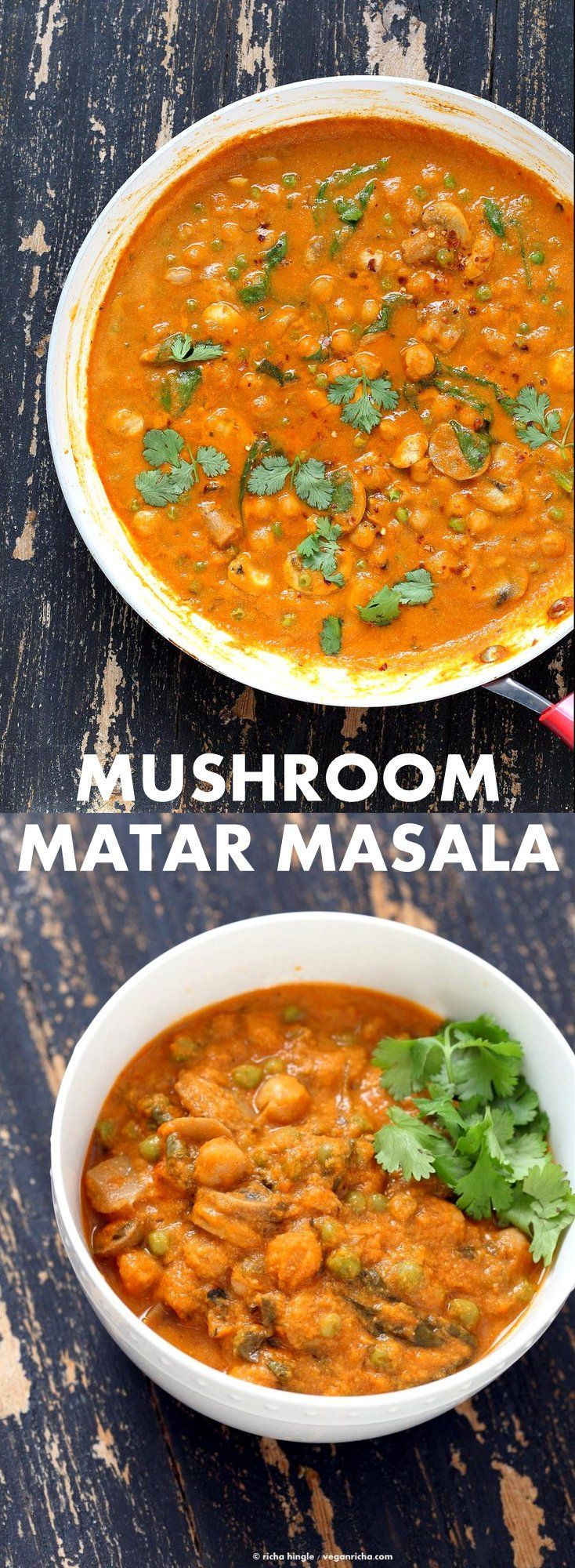 Mushroom Matar Masala. Mushrooms and Peas in creamy tomato sauce. Mushroom Masala Recipe with Easy Masala Sauce , spinach and chickpeas. Vegan Indian Gluten-free Soy-free | http://VeganRicha.com