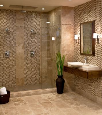 Glass accent wall tiles two vertical strips on back five Bathroom tile gallery