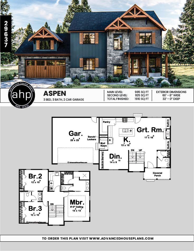 45 Villa Modern Kitchen Sink Exterior Decor 2 Story Modern Mountain House Plan Aspen 2story In 2020 Craftsman House Plans Mountain House Plans Sims House Plans