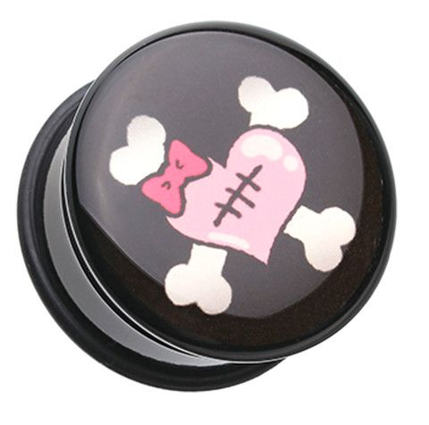 Emo Heart Crossbone Single Flared Ear Gauge Plug - 0 GA (8mm) - Sold as a Pair