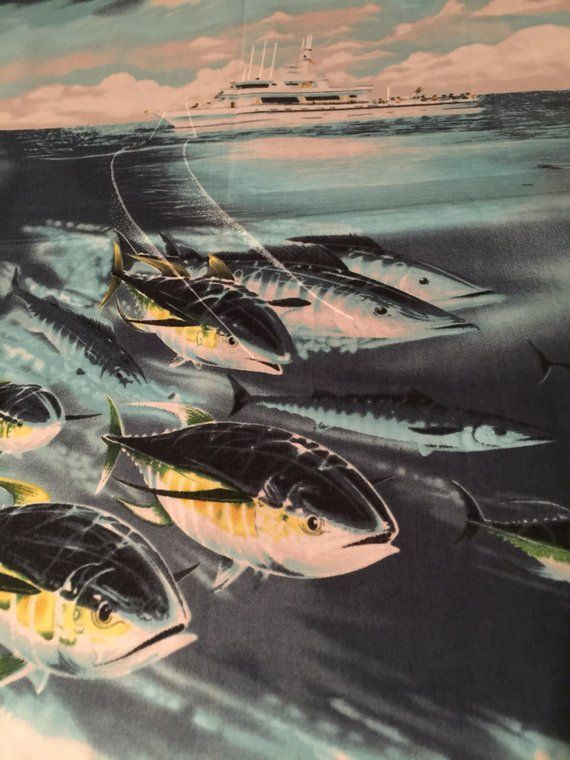 Fishing Fabric Dolphin Tuna By Hoffman Stunning Illust Ocean Deep
