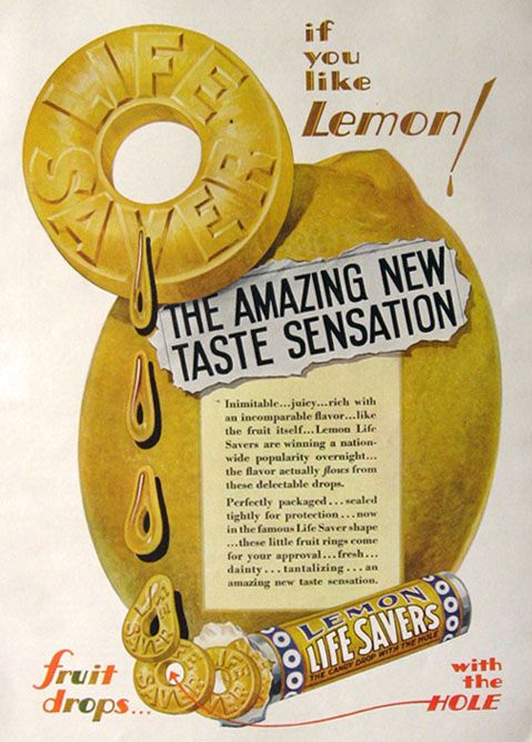 1930 Lemon Lifesavers Candy Ad