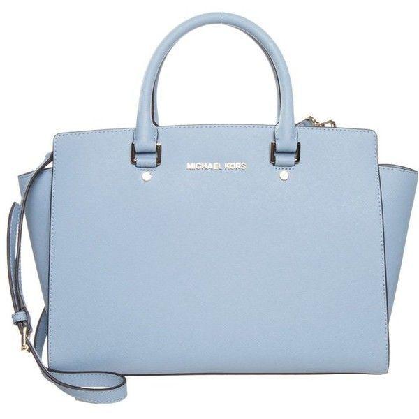 Michael Kors Selma Handbag Pale Blue Featuring Polyvore Fashion Bags Light Leather Zipper Bag Zip Handle