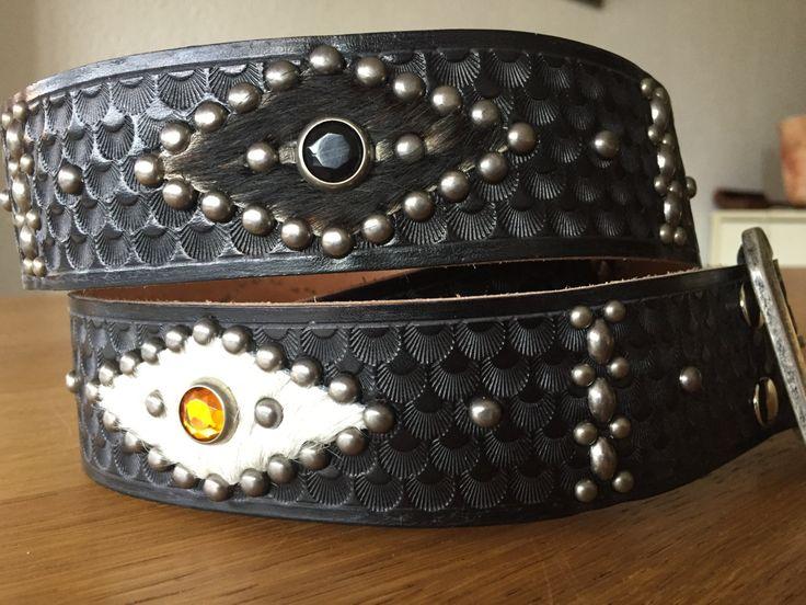 Cinturón de piel negro estilo western remachado de SanchoyDina en Etsy