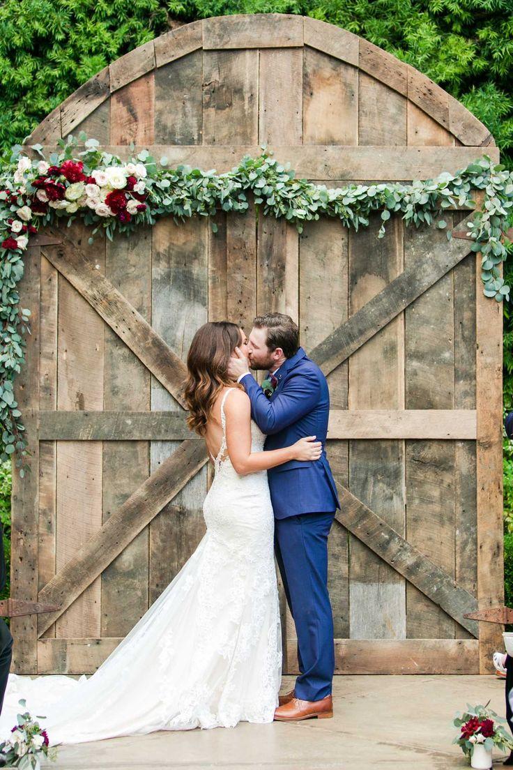 romantic franciscan gardens wedding first kiss | Kaysha Weiner Photographer | Wedding Photography | Southern California Wedding