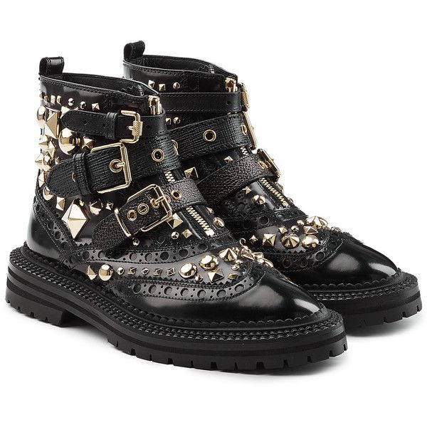 Burberry Studded Leather Brogue Ankle Boots (7874640 PYG) ❤ liked on Polyvore featuring shoes, boots, ankle booties, black, black bootie boots, brogue boots, short boots, black boots and black booties