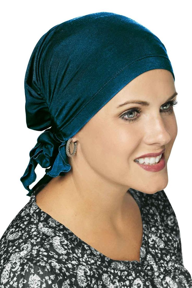Cardani Easy On Pre-Tied Scarf in Bamboo - Chemo, Cancer Head Covering Luxury Bamboo - Pacific Blue