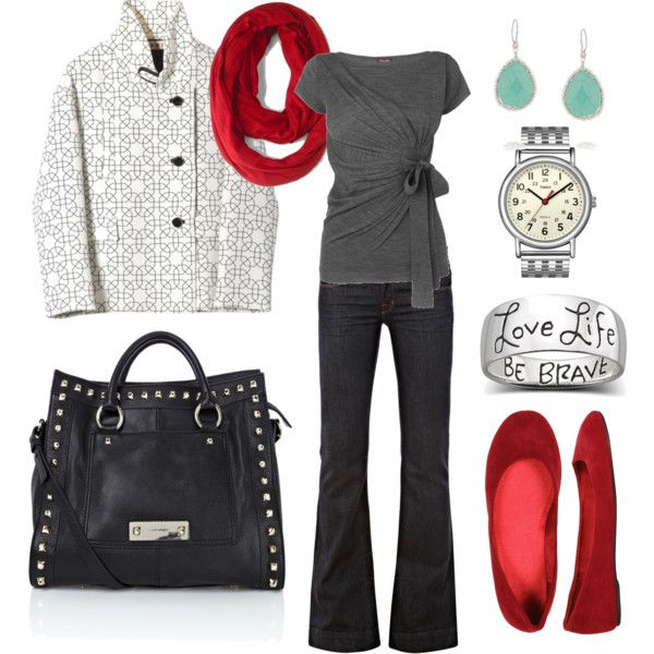 Red and gray: Outfits, Colors Combos, Fashion, Style, Red Flats, Shirts, Red Shoes, Jackets, Red Accent