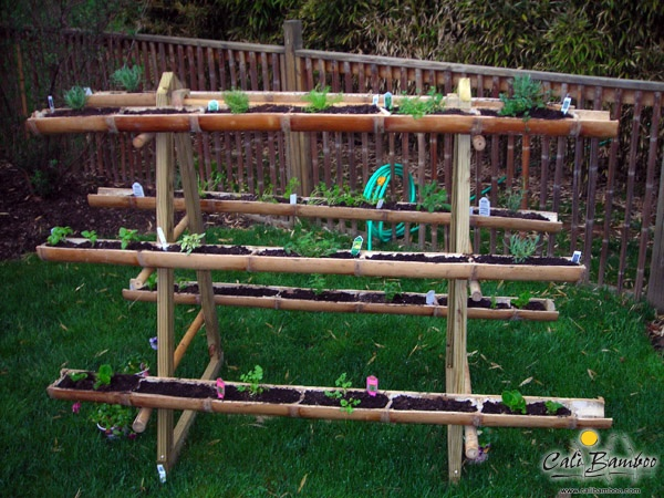 A Multi Level Herb Garden Made From Leftover Bamboo Poles