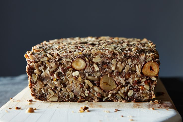 flourless bread made with seeds, nuts, oats, chia seeds, etc.; calls for psyllium seed husks.