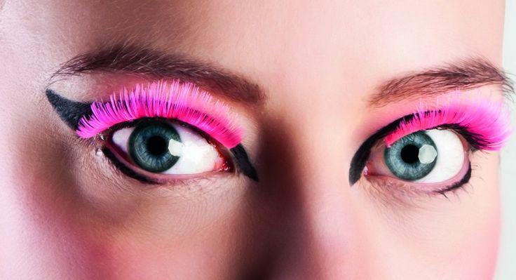 Pestañas postizas cortas rosa adulto: Pestañas postizas de color rosa fluo.Muy fáciles de poner de aplicar, sólo basta aplicar una fina línea de pegamento sobre todo la banda, esperar 30 segundos y...