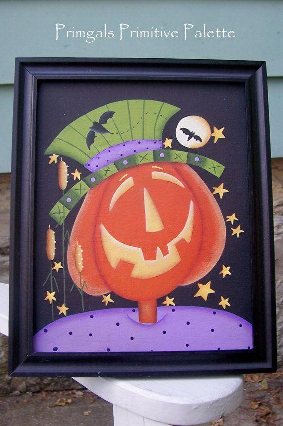 Halloween Handpainted Pumpkin Canvas Framed by Primgal on EtsyBats Frames, Primitives Pumpkin, Halloween Pumpkin, Home Decor, Pumpkin Bats, Canvas Handpainted, Halloween Primitives, Primitive Pumpkin, Frames Canvas