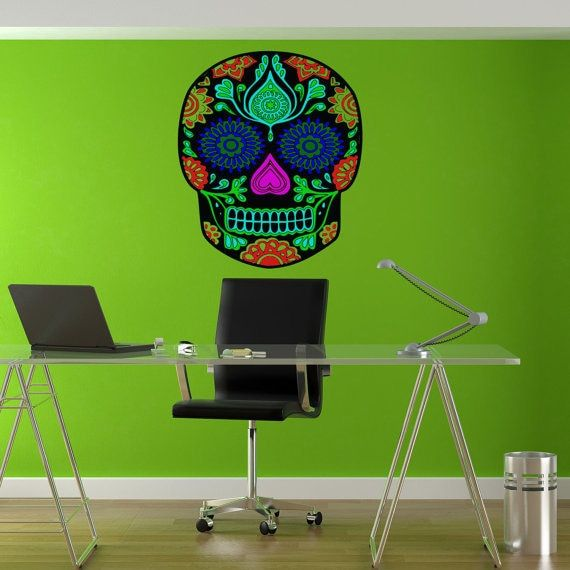 Full Color Candy Skull Full Color Decal, Skull Full color sticker, wall art, wall Sticker Decal size 22x30