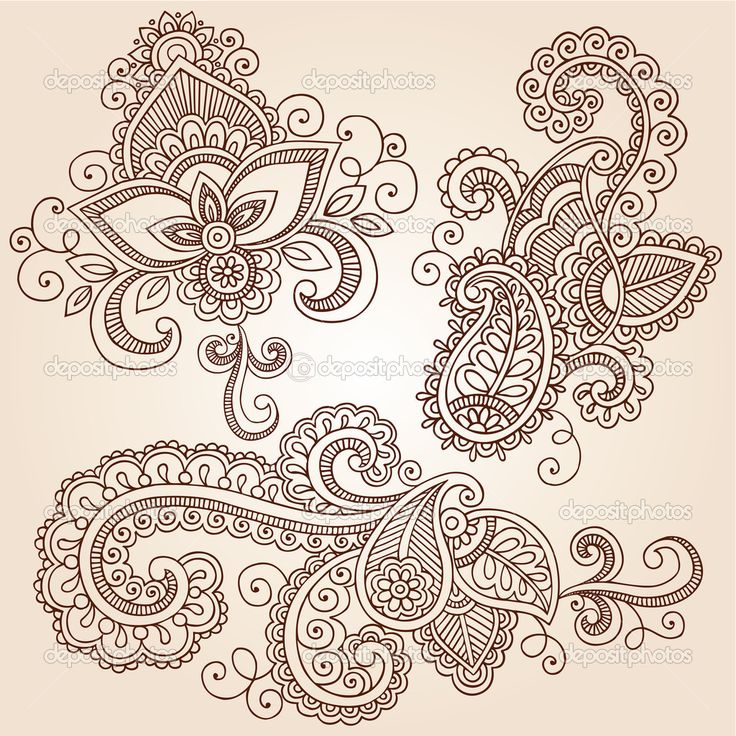 Could put finger prints in the paisley design, henna patterns | Henna Mehndi Tattoo Doodles Vector Design Elements | Stock Vector ...