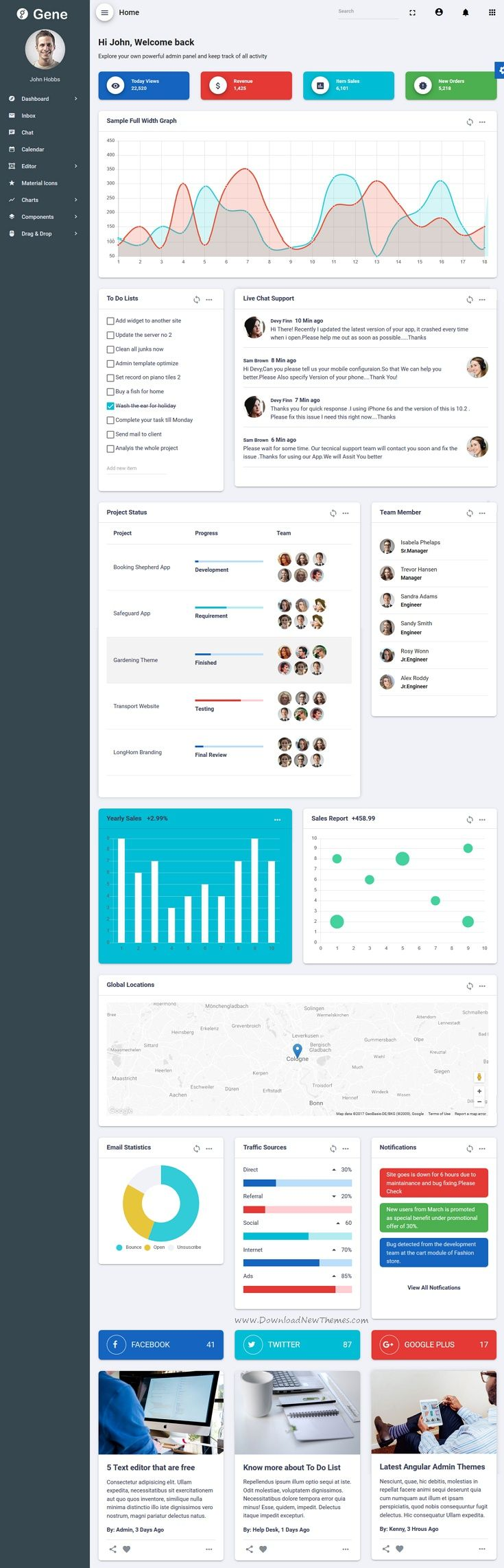 Gene is powerful #Angular Material design template for #admin #dashboard, #CMS, CRM and web applications backend projects download now➩ https://themeforest.net/item/gene-angular-2-material-design-admin-template/19877169?ref=Datasata