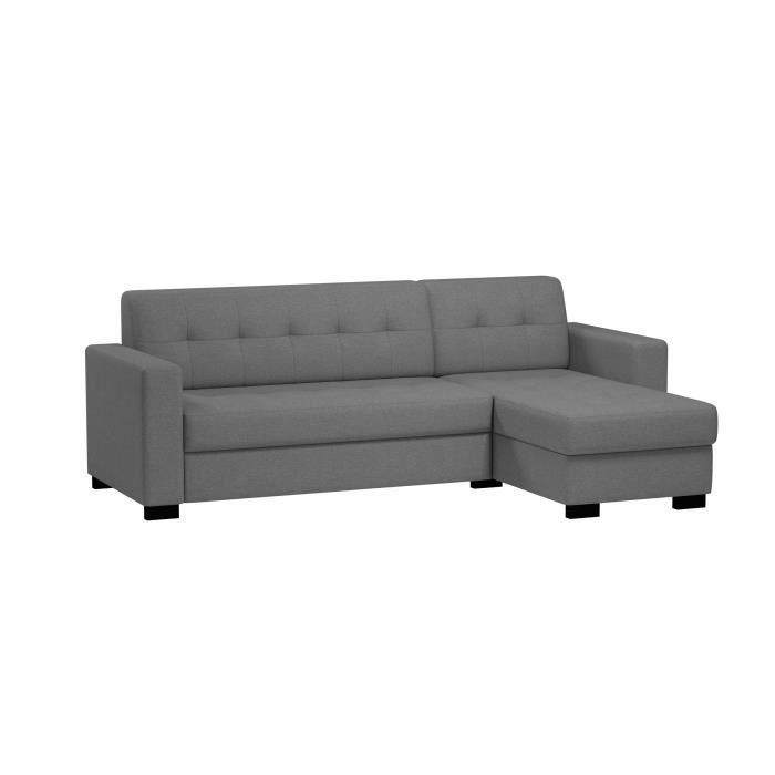 CLAPP Canapé d'angle réversible et convertible 5 places - 231x145x80 cm - Tissu Oslo - Gris - Achat / Vente canapé - sofa - divan Structure : Panneaux de particules-Revêtement : Tissu     - Soldes *  Cdiscount
