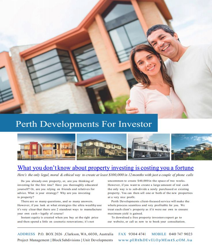 What you don't know about property investing is costing you a fortune http://www.perthdevelopments.com.au/