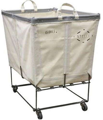 Laundry Cart White Canvas Basket Truck on Wheels | eBay