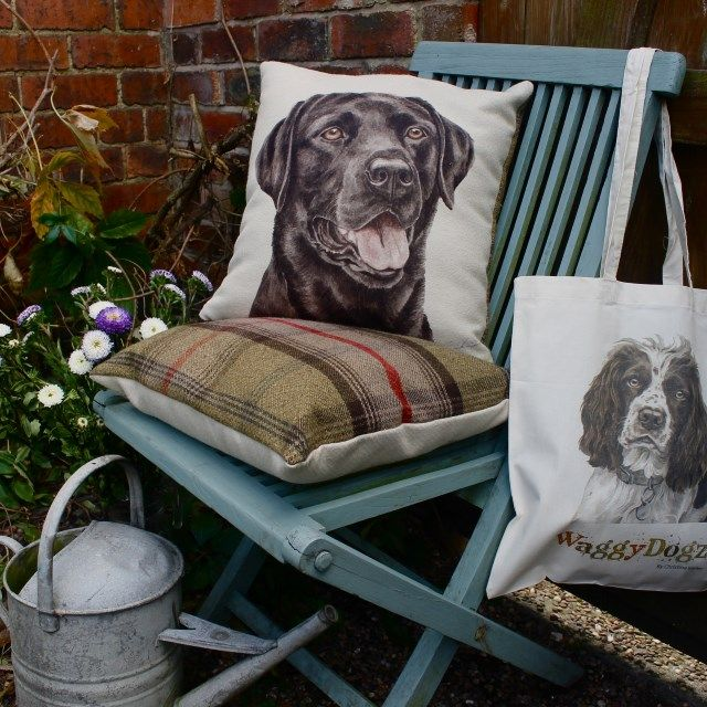 """Filled Cushion in """"Black Labrador"""" Design from the WaggyDoz Range by Evans Lichfield"""