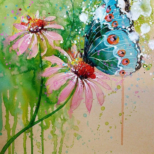 """""""Butterfly"""" Mixed media 18May2015  Preparing couple of paintings for upcoming watercolour workshops.  #tilenti #tilen #theartcommunity #watercolor #watercolour  #watercolours #watercolors #painting #paintings #splattered #drip #dripped  #artfido #art #_te"""