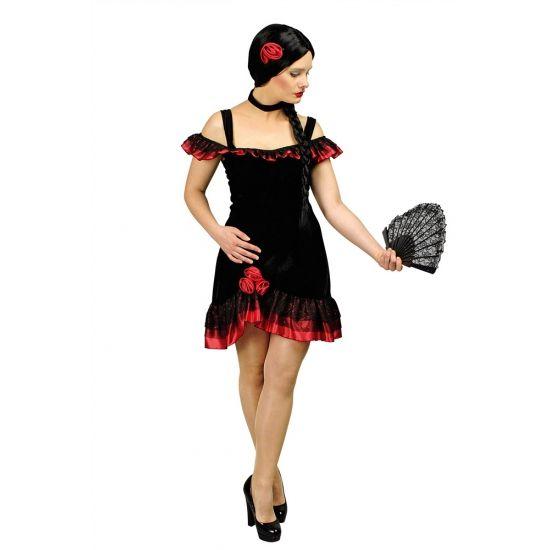 Spaanse flamenco jurk dames, inclusief hals decoratie en haarklip. De Spaanse jurk valt boven de knie. Deze Spaanse flamenco is exclusief de Spaanse waaier.