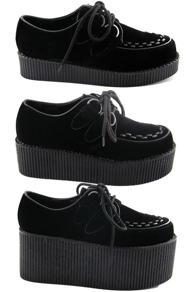 Creepers Black Platform Lace Up Ladies Flats Punk Goth Shoes Size 3-8 New #EssexGlam #Creepers #Casual