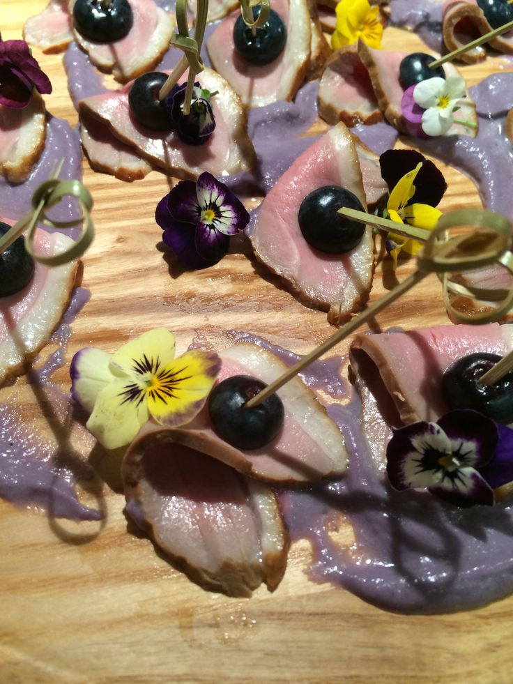 house smoked duck, blueberries