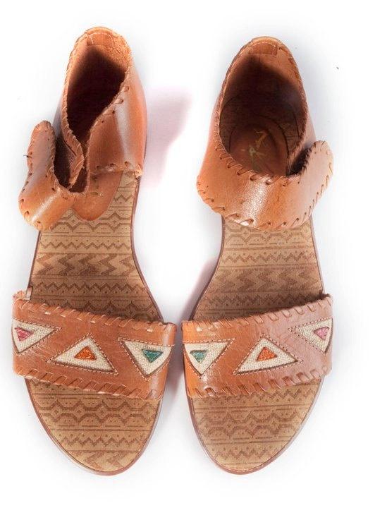 Vintage Aztec Flat Leather Sandals
