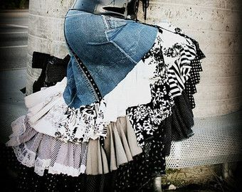 """""""Upcycled Flamenco Skirt""""  In your ultimate hipster attire, you must have an upcycled DENIM flamenco skirt (still not lolita)"""