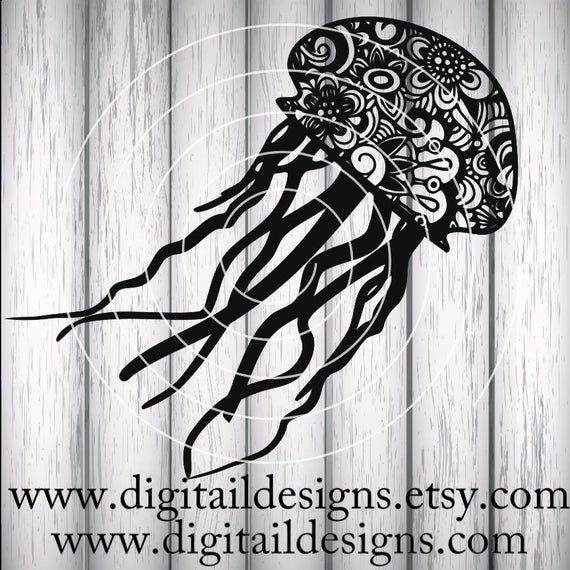 Zentangle Jellyfish Svg Dxf Png Eps Ai Fcm Cricut Etsy Jellyfish Design Zentangle Svg